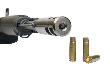 suppressor: Saiga MK-03, AK-47, magazine and bullet shells