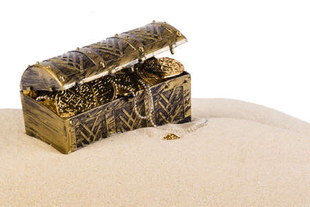 gold treasure: Treasure chest from pirates with gold coins and nuggets Stock Photo