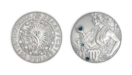 Silver coin Astrological sign Vigro
