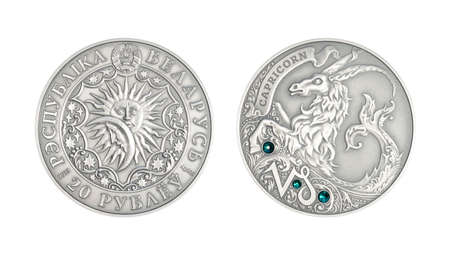 Silver coin Astrological sign Capricorn