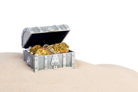 Big silver chest full of treasure Stock Photo