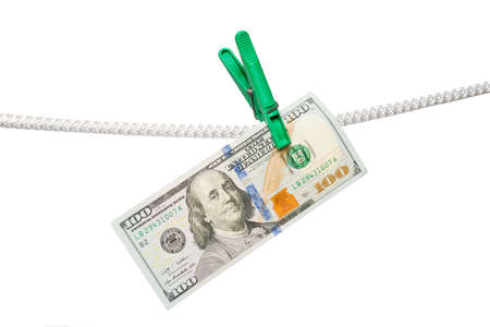Dollars and green pins on the rope isolated Stock Photo