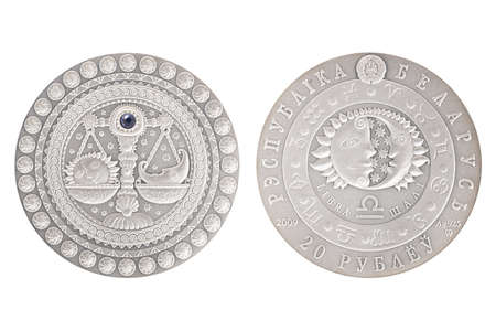 Libra Belarus silver coin 2009 isolated white background Stock Photo