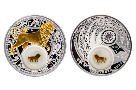 Belarus silver coin 2013 astrology Leo isolated white background