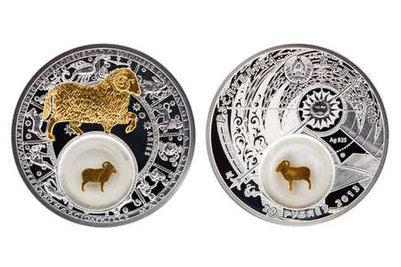 Belarus silver coin 2013 astrology Aries isolated white background Фото со стока