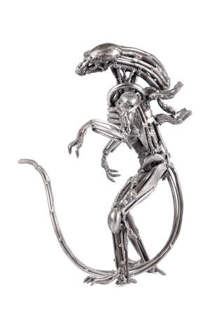 Melal monster figure of alien steampunk white background