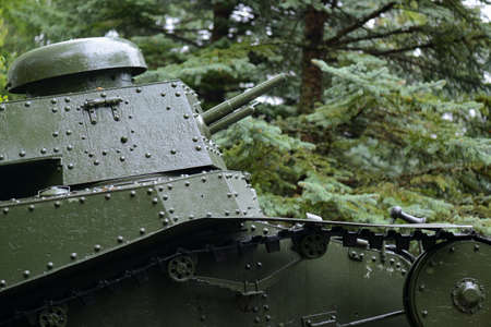 Soviet armored light tank T-18 tower closeup