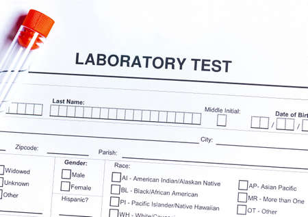 Form to fill in with results of blood test in tube Archivio Fotografico