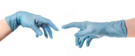Hands with blue glove based on Michelangelo s painting of God creating man The Creation of Adam