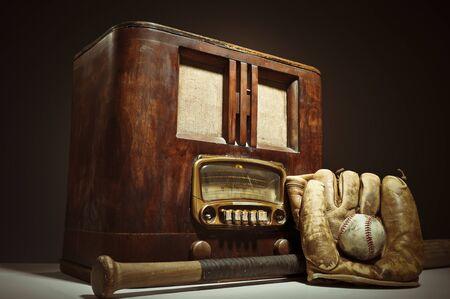 Antique Radio With Baseball Bat, Ball and Glove