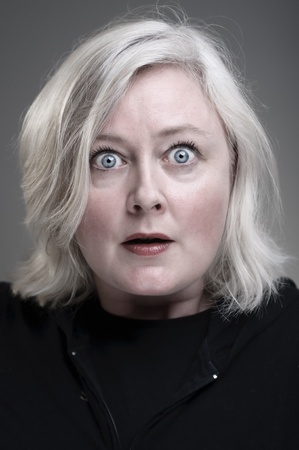 fear face: Mature Caucasian Woman With An Fearful Expression