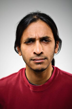 expressing negativity: Young Indian Ethnic Man Expressing Negativity Stock Photo