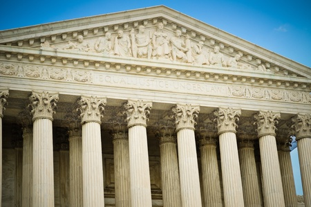 supreme court: A detail shot of the US Supreme Court building highlighting the inscription  Stock Photo
