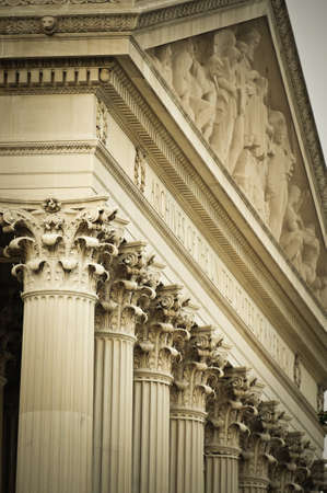 dc: Detail of the facade at the National Archives in Washington DC.  Stock Photo
