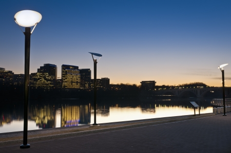 Sunset view of Rosslyn Virginia from the boardwalk in Georgetown, Washington DC.