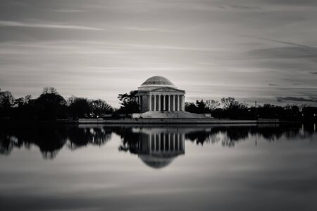 dc: The Jefferson Memorial in Black and White with a long exposure  Editorial