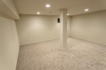 The interior of a sprawling basement rebuild. photo