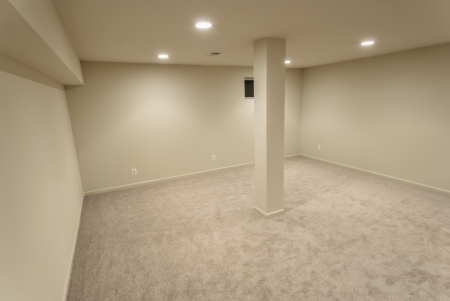basement: The interior of a sprawling basement rebuild. Stock Photo