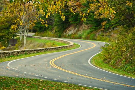 winding road: An empty S-Curved road on skyline drive. Stock Photo