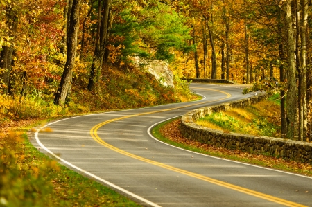 An empty S-Curved road on skyline drive. Stok Fotoğraf