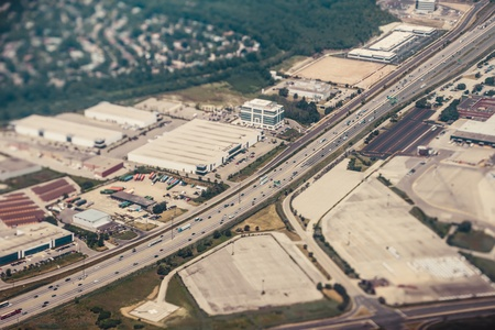 An aerial view of a freeway interchange in Toronto