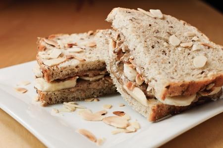 Almond butter and banana sandwich. Stok Fotoğraf