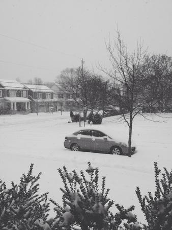 Snow covered neighborhood  Stok Fotoğraf