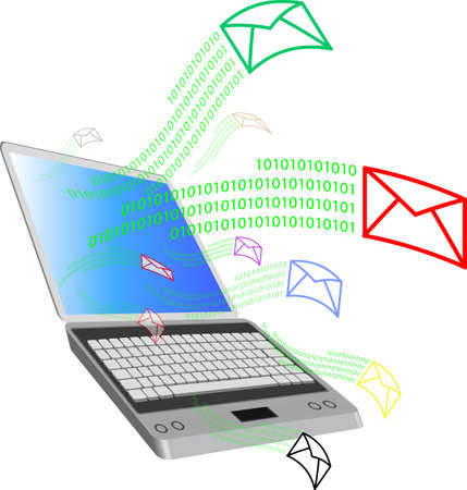 Illustration of the E-Mail Icon. computer and world
