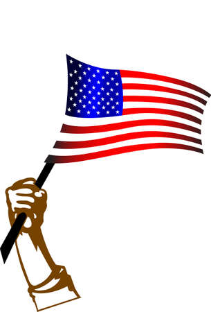 american flag and hand. illustration