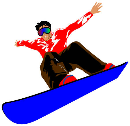 snowboarding: SNOWBOARDER FLY ISOLATED