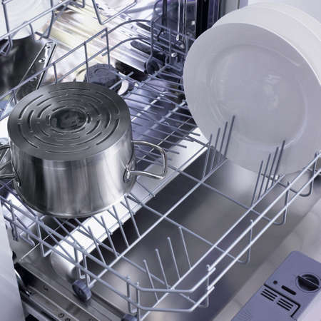 washing dishes: dishwasher Stock Photo