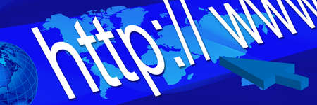 blue World Web Banner. Communication header banner