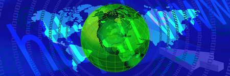 blue World Web Banner. Communication header banner photo