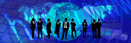 blue World Web Banner. Communication business header banner photo