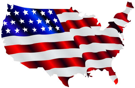 american map and flag photo
