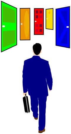 choose a path: seeking job Illustration