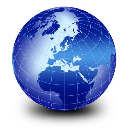 globe vector: blue world globe