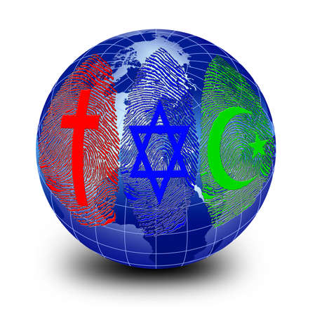 Official Religions Around the World and fingerprint Imagens