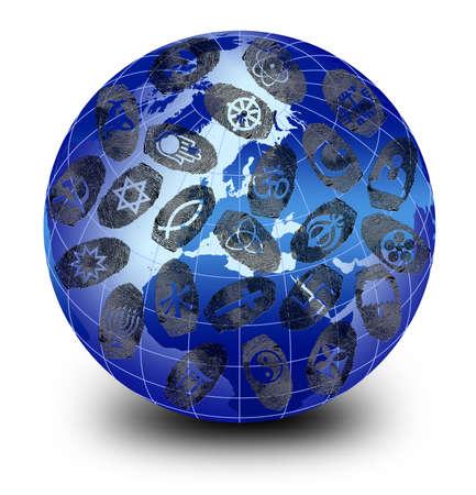 Religions Around the World and fingerprint photo