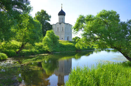 nerl: Golden Ring of Russia, Vladimir region, Bogolyubovo. Church of the Intercession on the Nerl, built in 1165. Stock Photo