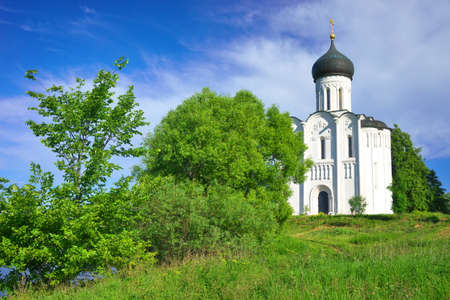 bogolyubovo: Golden Ring of Russia, Vladimir region, Bogolyubovo. Church of the Intercession on the Nerl, built in 1165. Stock Photo