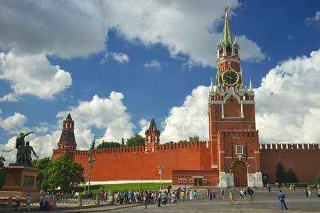Russia, Moscow, view of the Spasskaya Tower of the Moscow Kremlin.