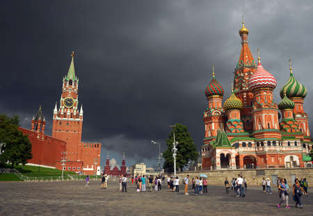 Russia, Moscow, view of the Kremlin and St. Basils Cathedral.