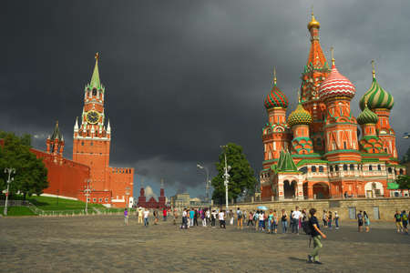 spassky: Russia, Moscow, view of the Kremlin and St. Basils Cathedral.
