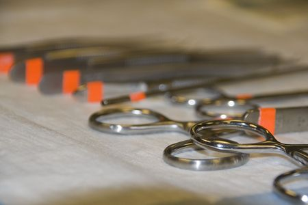 Surgical instruments with orange labels Stock fotó