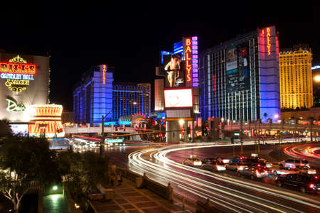 Las Vegas, USA - June 23, 2012  Large billboard and neon lights advertising show Jubilee at the Ballys Hotel and Casino in Las Vegas, Nevada