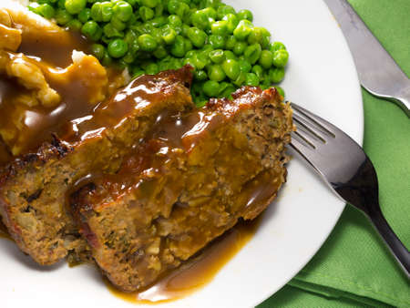 Close-up view of a homemade meatloaf meal photo