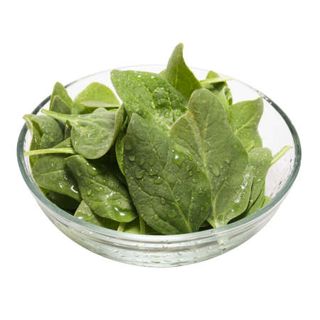 baby spinach: Freash baby spinach in a glass bowl