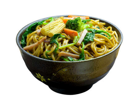 lifestyle dining: Chow mein (Chinese stir-fried noodles) in a bowl