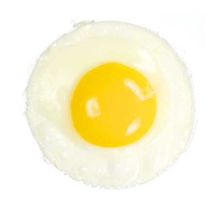 raw: Closeup overview of fried egg isolated on white